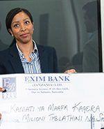 The CEO Roundtable presents a cheque the Hon. Kassim Majaliwa as CEOrt member contributions to the Kagera Disaster