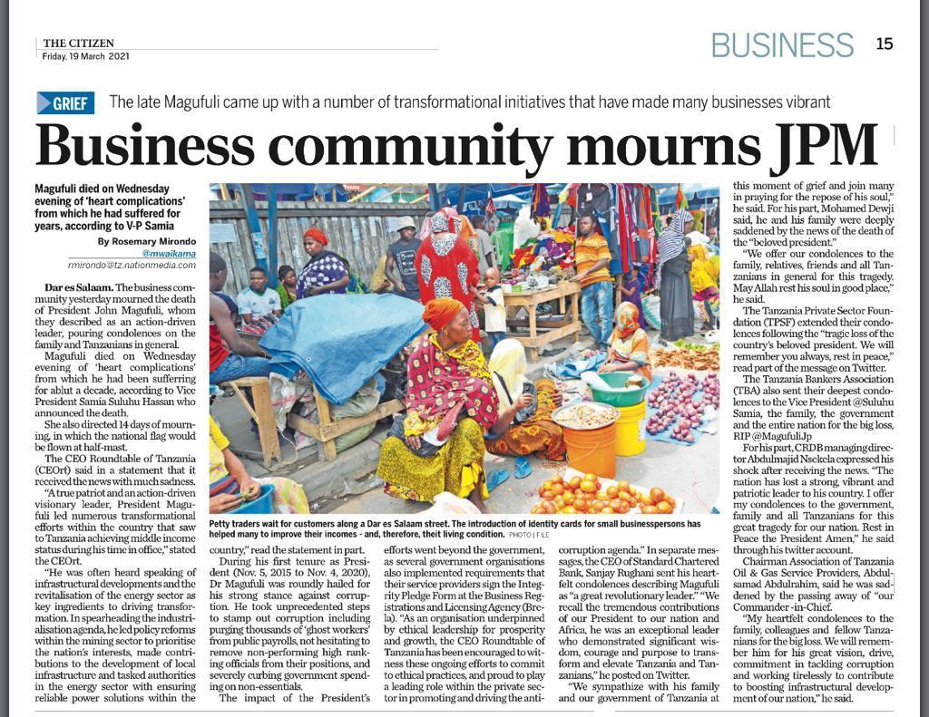 Business community mourns JPM